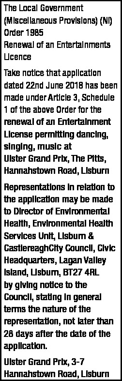 Renewal of an Entertainments Licence