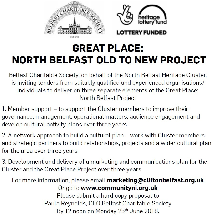 Invitation to Tender, Great Place: North Belfast old to New Project - Contracts & Tenders in Northern Ireland