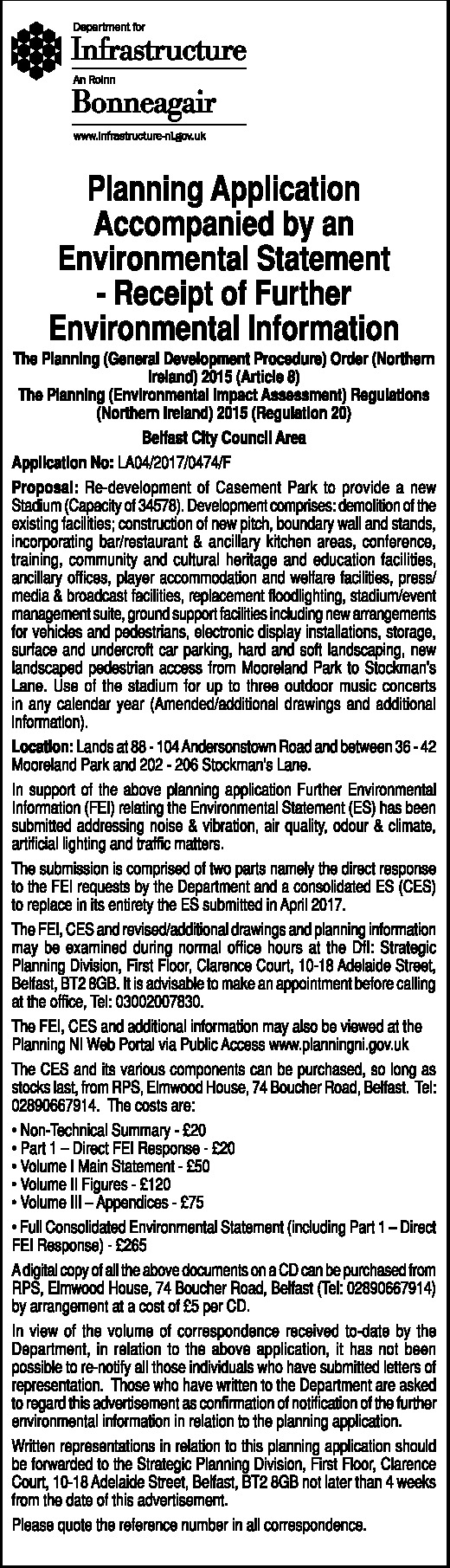Planning application with environment statement - Public Notice