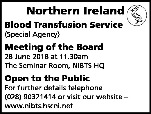 Northern Ireland Blood Transfusion Service (Special Agency) Meeting of the Board