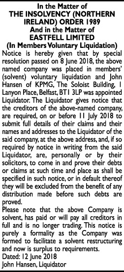 Eastfell Limited - Legal Notice