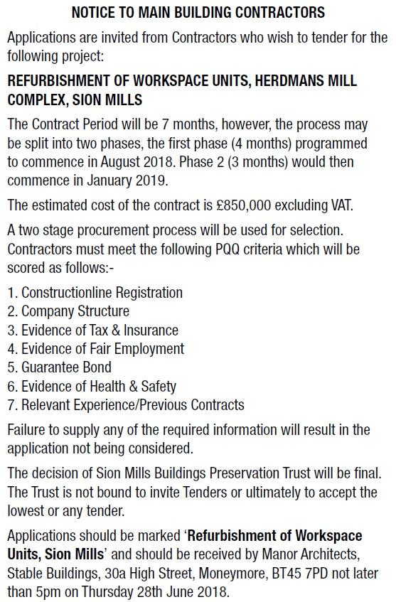 Notice to Main Building Contractors - Contracts & Tenders in Northern Ireland