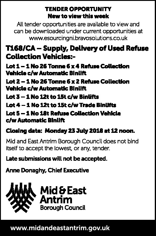 Mid & East Antrim Borough Council - Tenders - Contracts & Tenders in Northern Ireland