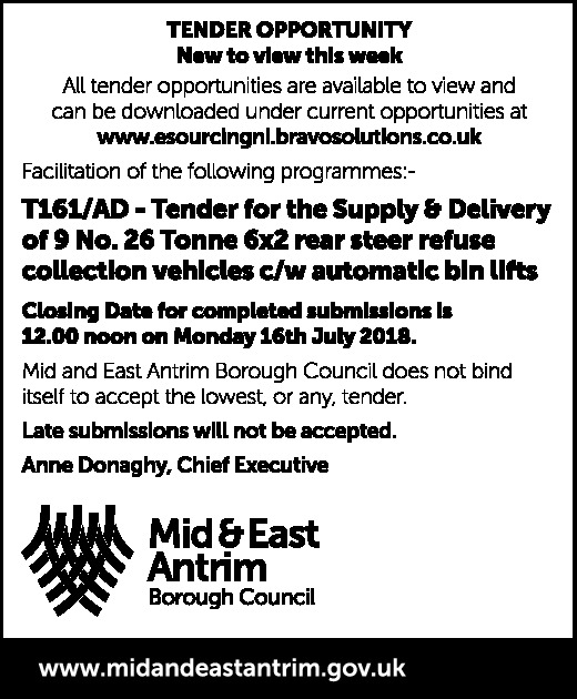Mid and East Antrim Borough Council  - Contracts & Tenders in Northern Ireland