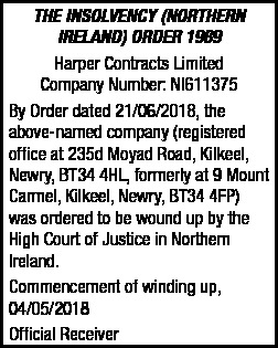 HARPER CONTRACTS LIMITED - LEGAL NOTICE - Legal Notices in Northern Ireland