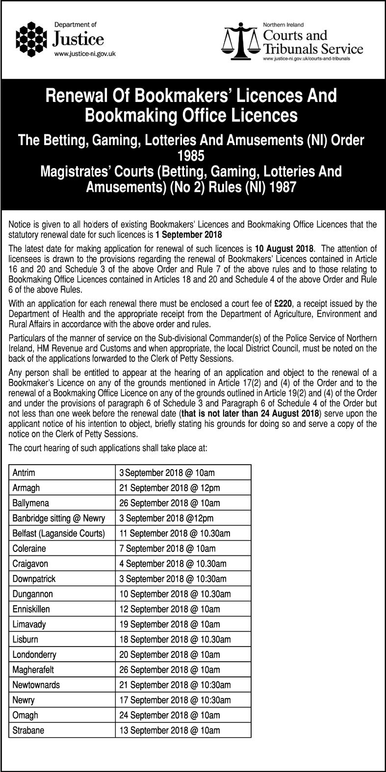 RENEWAL OF BOOKMAKERS LICENCE - NOTICE - Legal Notices in Northern Ireland