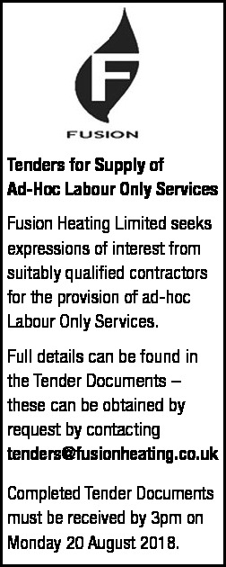 Tender Notice - Fusion Heating Limited - Contracts & Tenders in Northern Ireland
