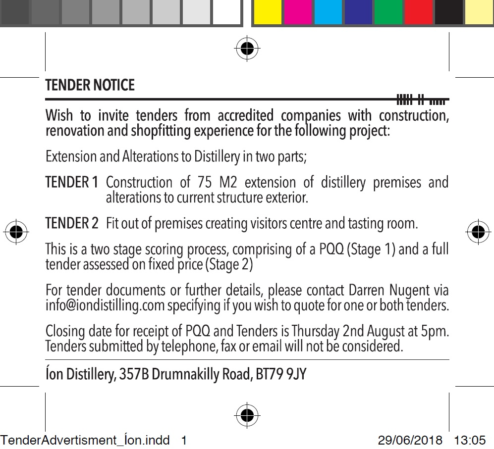 Tender: Extension and Alterations to Distillery