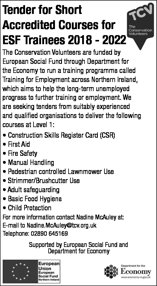 Tender for Short Accredited Courses for ESF Trainees 2018 - 2022 - Contracts & Tenders in Northern Ireland