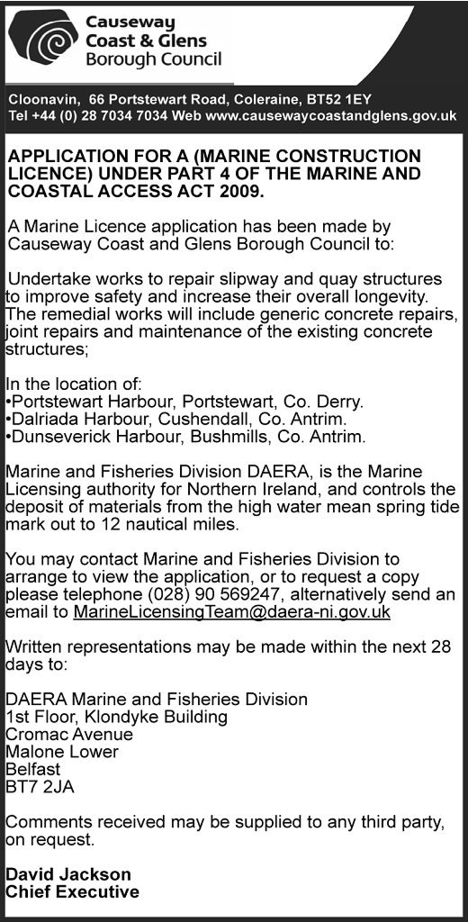 APPLICATION FOR A (MARINE CONSTRUCTION LICENCE) UNDER PART 4 OF THE MARINE AND COASTAL ACCESS ACT 2009.
