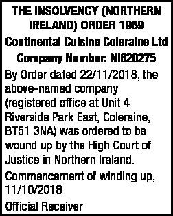 Continental Cuisine Coleraine Ltd
