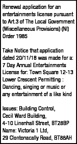 Renewal Application for an Entertainments License