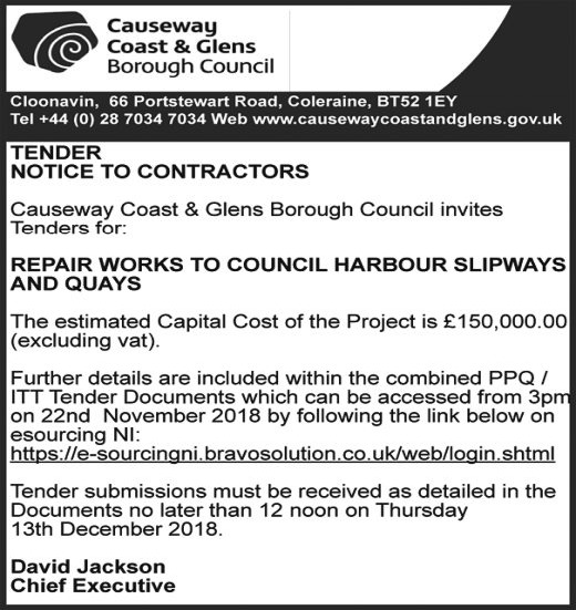 Repair Works to Council Harbour Slipways and Quays