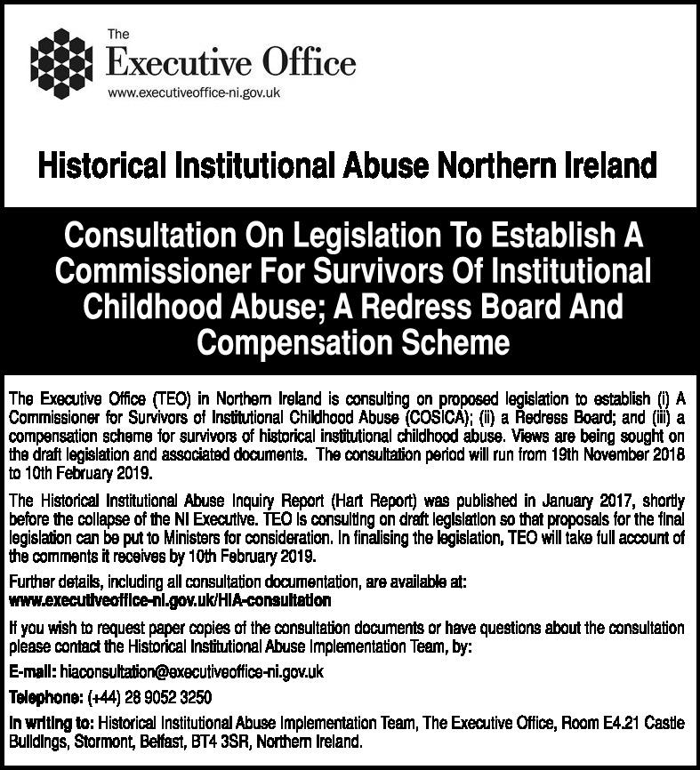 Consultation On Legislation To Establish A Commissioner For Survivors Of Institutional Childhood Abuse