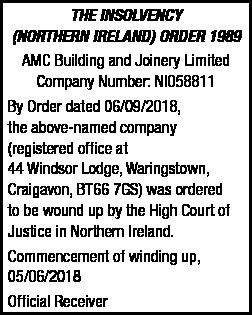 AMC BUILDING AND JOINERY LIMITED - LEGAL NOTICE