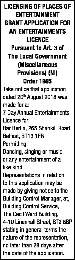 7 Day Annual Entertainments Licence