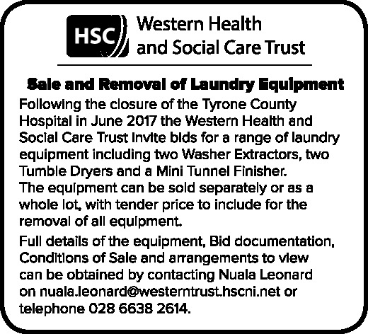 Sale and Removal of Laundry Equipment