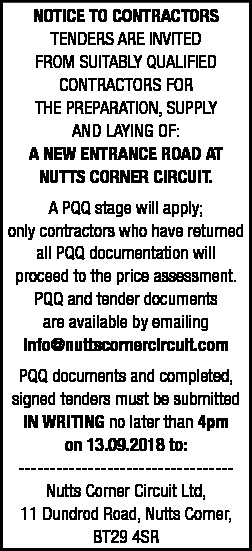 TENDER NOTICE - NEW ENTRANCE ROAD AT NUTTS CORNER CIRCUIT