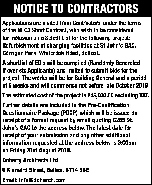 Notice to Contractors