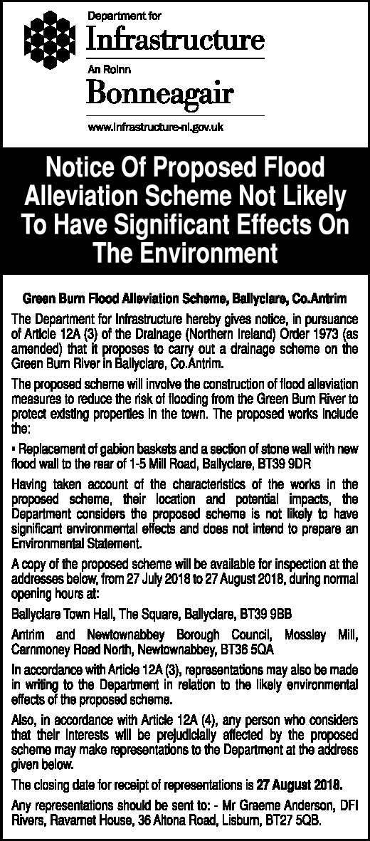 Notice of Proposed Flood Alleviation Scheme