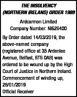 ARDCARMON LIMITED - INSOLVENCY
