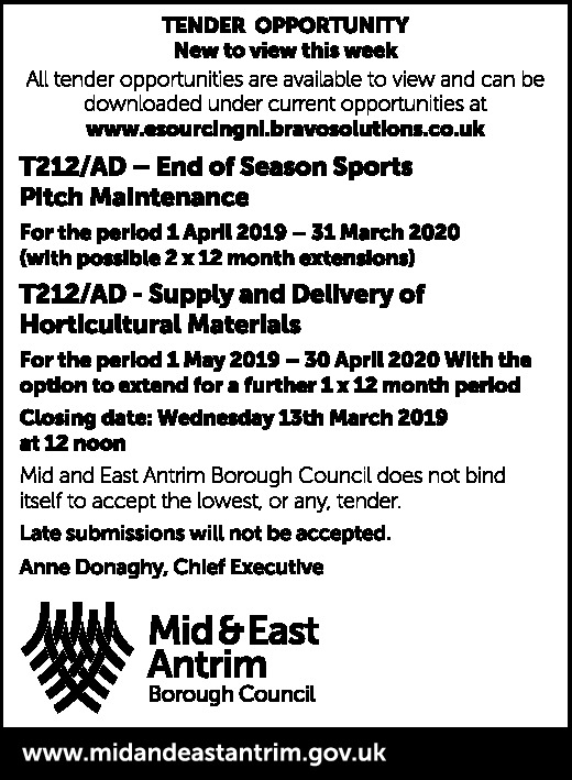 End of Season Pitch Maintenance // Supply and Delivery of Horticultural Materials
