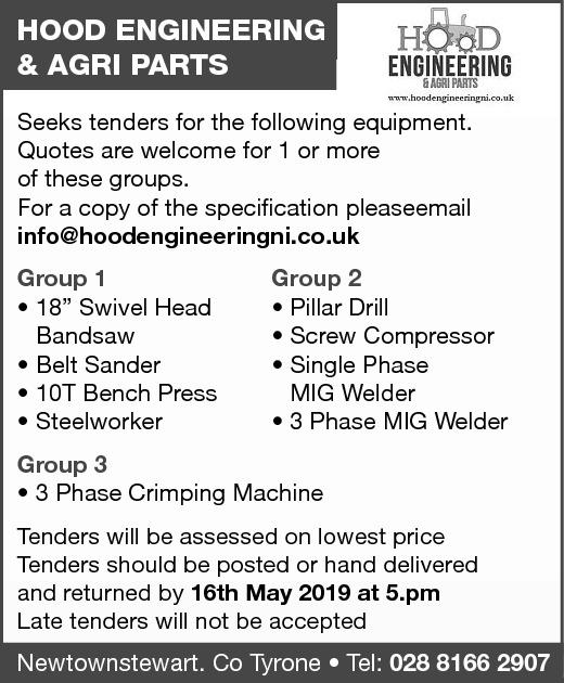HOOD ENGINEERING & AGRI PARTS - TENDER