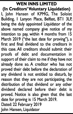 WEN INNS LIMITED (In Creditors' Voluntary Liquidation)