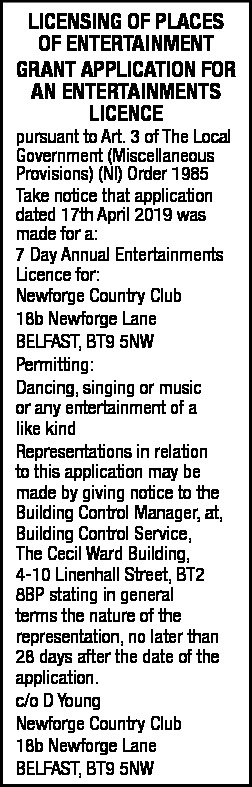 GRANT APPLICATION FOR AN ENTERTAINMENTS LICENCE