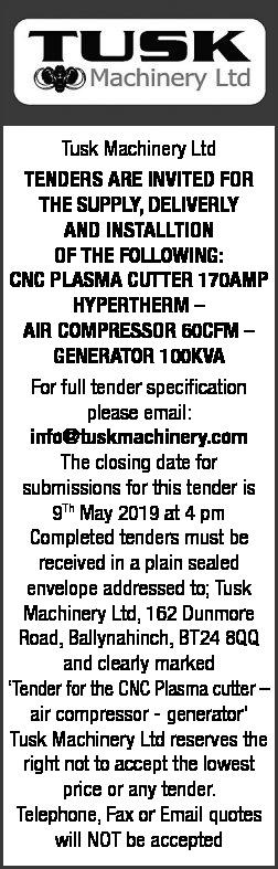 Tusk Machinery Ltd - TENDER NOTICE