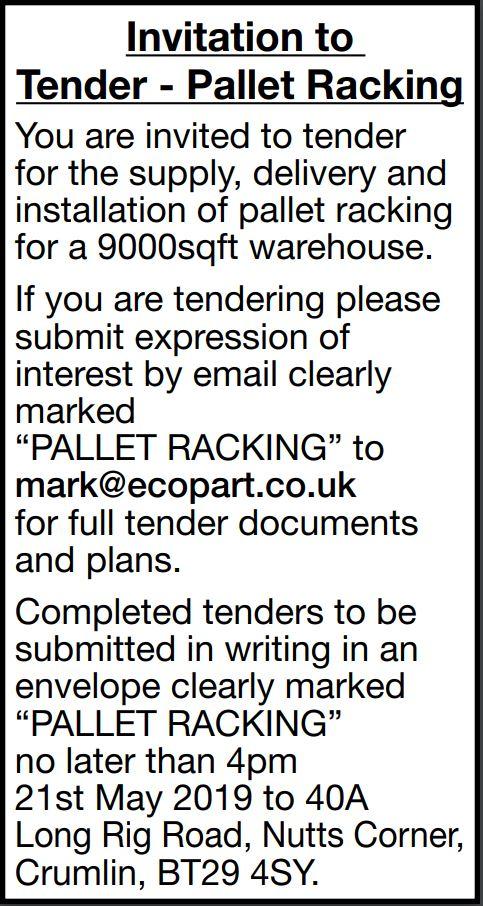 Invitation to Tender - Pallet Racking