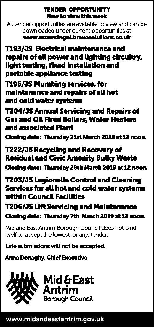 TENDER OPPORTUNITY - New to view this week