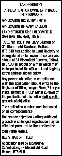 LAND REGISTRY APPLICATION FOR OWNERSHIP BASED ON POSSESSION