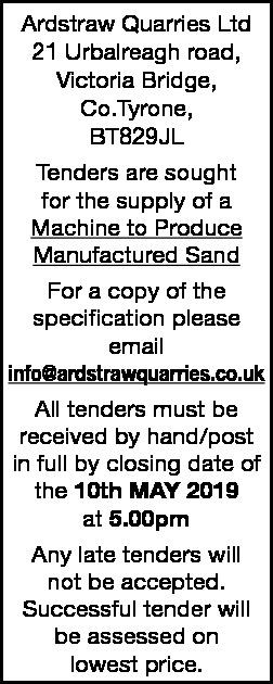 Ardstraw Quarries Ltd - TENDER ADVERT