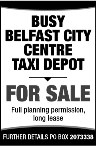 Busy Belfast City Centre taxi Depot for sale