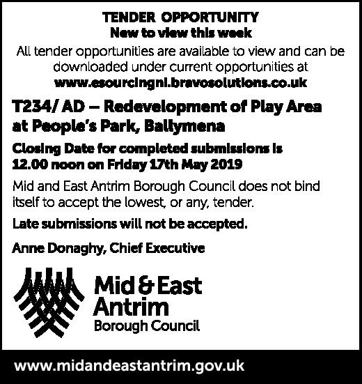 TENDER OPPORTUNITY - Redevelopment of Play Area