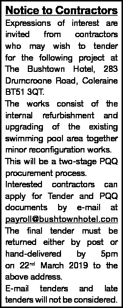 Notice for contractors