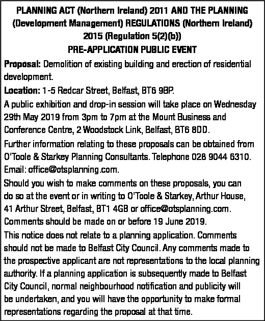 PRE-APPLICATION PUBLIC EVENT - REDCAR STREET