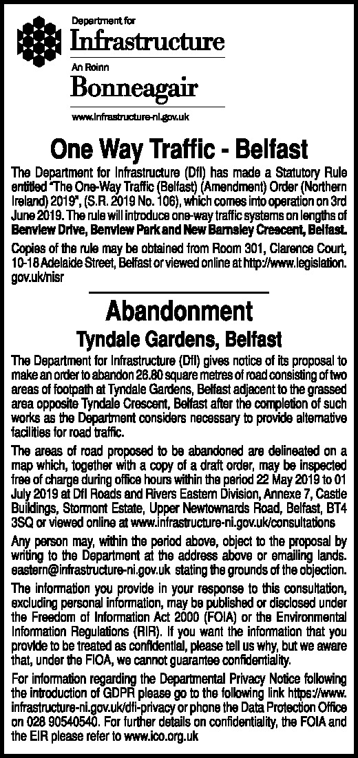 Department for Infrastructure - NOTICE