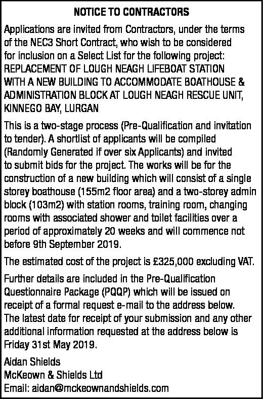 LOUGH NEAGH - NOTICE TO CONTRACTORS