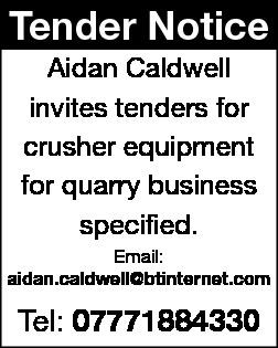 TENDER NOTICE - Aidan Caldwell