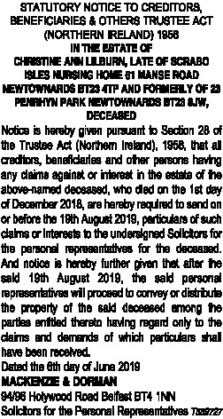 STATUTORY NOTICE TO CREDITORS, BENEFICIARIES & OTHERS TRUSTEE ACT (NORTHERN IRELAND) 1958