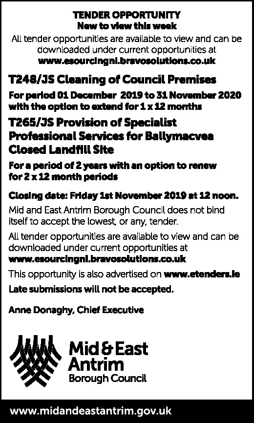 MID AND EAST ANTRIM - TENDER OPPORTUNITY