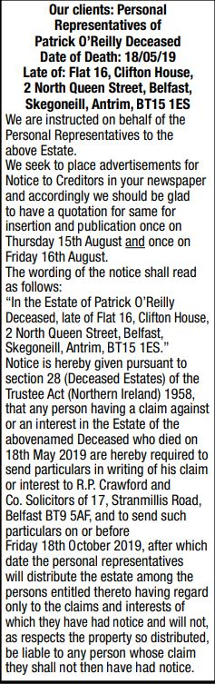ESTATE OF PATRICK O'REILLY