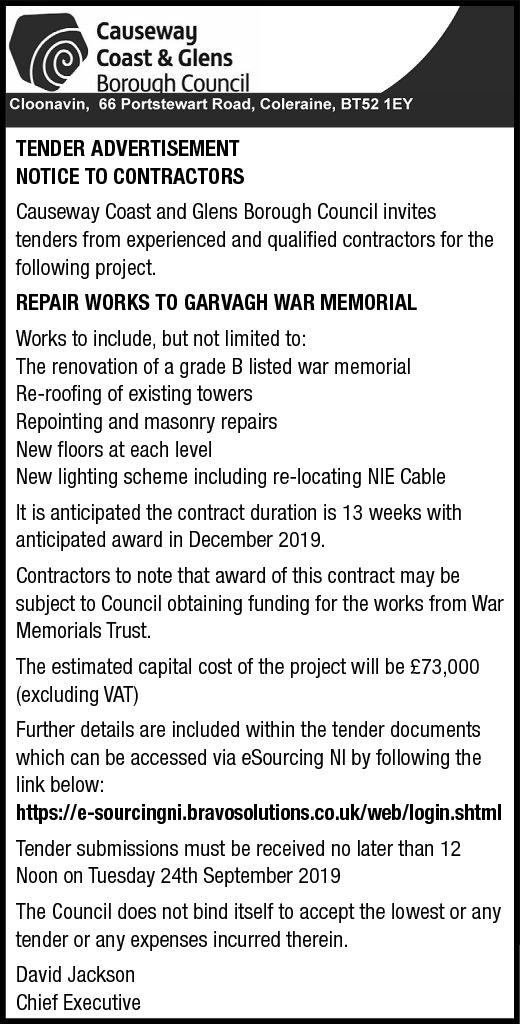 TENDER ADVERTISEMENT - NOTICE TO CONTRACTORS - Contracts & Tenders in Northern Ireland