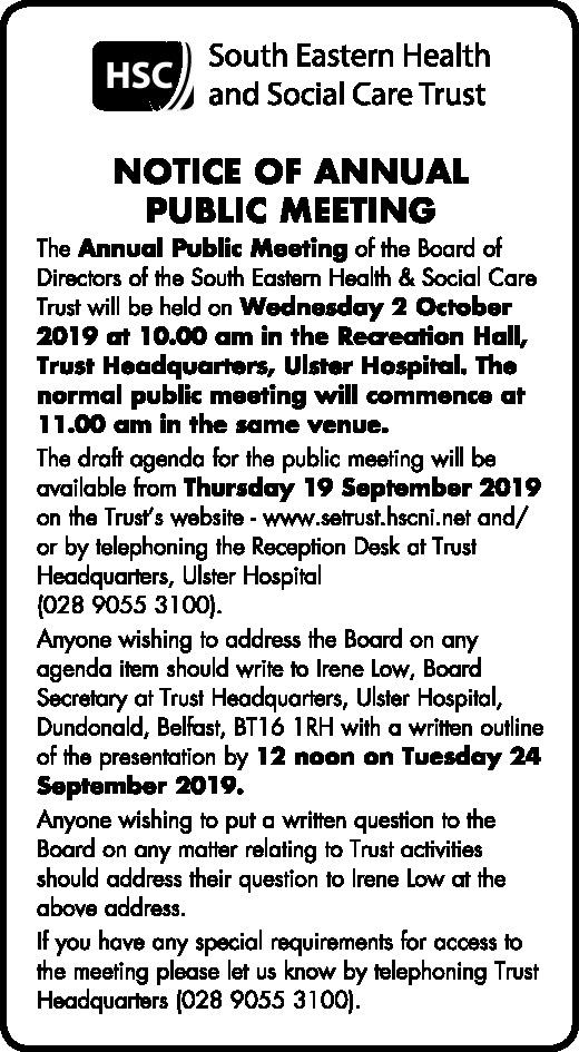 Notice of Annual Public Meeting - Public Notices in Northern Ireland