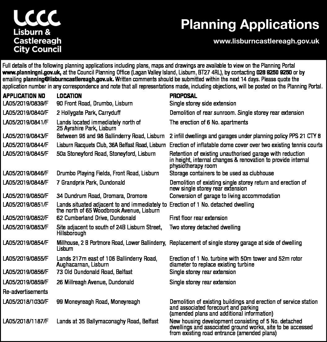 PLANNING APPLICATIONS - Lisburn & Castlereagh City Council