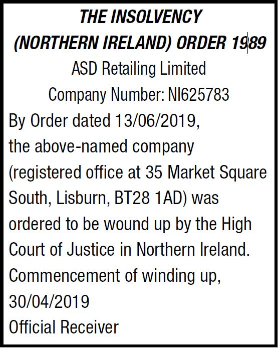 ASD Retailing Limited Legal Notice