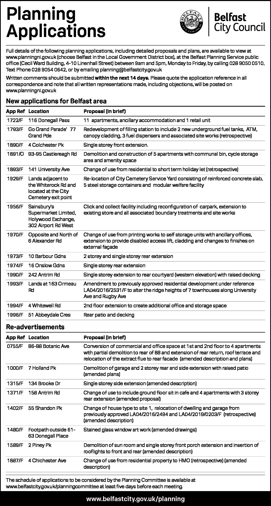 PLANNING APPLICATIONS - Belfast City Council  - Public Notices in Northern Ireland