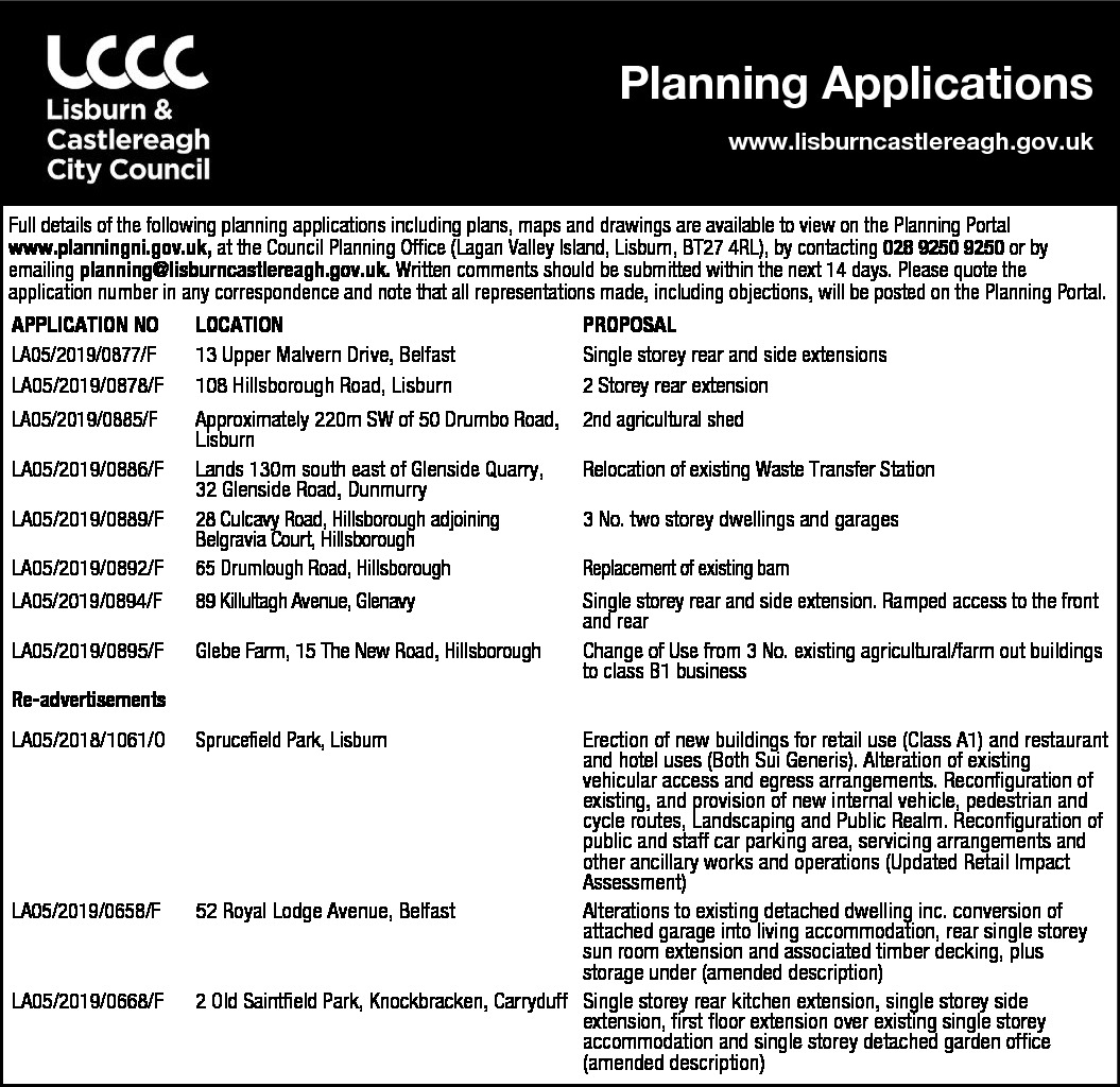 PLANNING APPLICATIONS - Lisburn & Castlereagh City Council - Public Notices in Northern Ireland